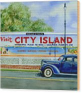 City Island Billboard Wood Print by Marguerite Chadwick-Juner