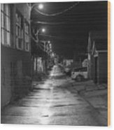 City Lane At Night Wood Print