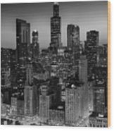 City Light Chicago B W Wood Print