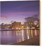 City Lights Reflections Wood Print