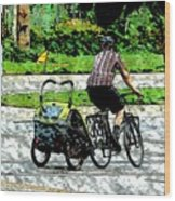 City Man On A Bike Wood Print