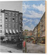 City - New York Ny - Fraunce's Tavern 1890 - Side By Side Wood Print