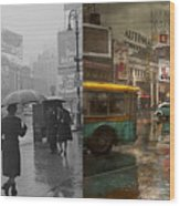 City - Ny - Times Square On A Rainy Day 1943 Side By Side Wood Print