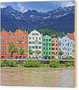 City Of Innsbruck Colorful Inn River Waterfront Panorama Wood Print