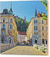 City Of Ljubljana View From Tromostovje Bridge Wood Print