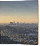 City Of Los Angeles At Dawn Wood Print