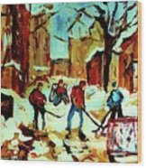 City Of Montreal Hockey Our National Pastime Wood Print