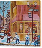 City Of Montreal St. Urbain And Mont Royal Beautys With Hockey Wood Print