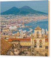 City Of Naples With Mt. Vesuvius Wood Print