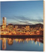 City Of Portland Skyline Blue Hour Panorama Wood Print