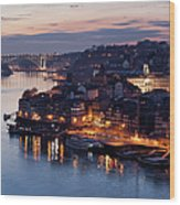 City Of Porto In Portugal At Dusk Wood Print