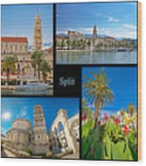 City Of Split Nature And Architecture Collage Wood Print