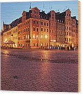 City Of Wroclaw Old Town Market Square At Night Wood Print