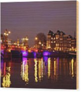 City Scenic From Amsterdam With The Blue Bridge In The Netherlands Wood Print