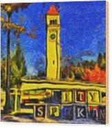 City Spokane - Riverfront Park Wood Print