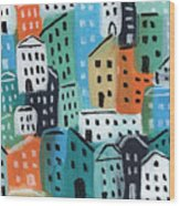 City Stories- Blue And Orange Wood Print
