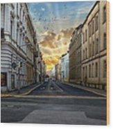 City Street View Wood Print