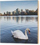 City Swan Wood Print