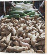 City Vegetable Stand Wood Print