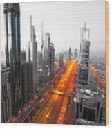 City Veins Dubai Wood Print
