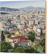 City View Of Old Buildings In Athens, Greece Wood Print