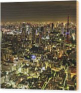 Cityscape At Night Wood Print