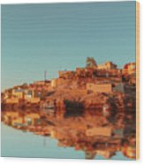 Cityscape For The Beautiful Nubian City Aswan In Egypt At The Golden Hour Of The Sunset Time. Wood Print