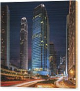 Cityscape Of Building In Hong Kong Wood Print