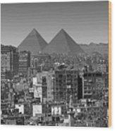 Cityscape Of Cairo, Pyramids, Egypt Wood Print
