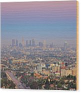 Cityscape Of Los Angeles Wood Print