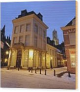 Cityscape Of Utrecht In The Evening At Pausdam 5 Wood Print
