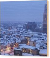 Cityscape Of Utrecht With The Dom Tower  In The Snow 13 Wood Print