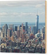 Cityscape View Of Manhattan, New York City. Wood Print
