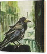 Cityscape With A Crow Wood Print