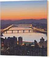 Cityscape With River Before Sunrise Wood Print