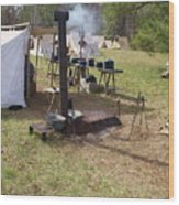 Civil War Camp Stove And Mess Wood Print
