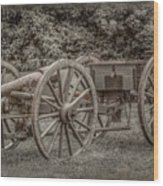 Civil War Cannon And Limber Wood Print