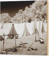 Civil War Encampment - Infrared Wood Print