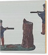 Civil War Soldier & Tree Trunk Bank Wood Print