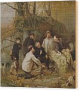 Claiming The Shot - After The Hunt In The Adirondacks Wood Print by John George Brown