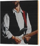 Clapton With Red Strap Wood Print
