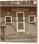 Clara's Sandwich Shop Wood Print