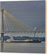 Clark Bridge And Barge  Wood Print