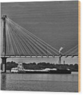 Clark Bridge And Barges In Black And White  Wood Print