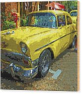 Classic 56 Chevy Car Yellow  Wood Print