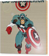 Classic Captain America Wood Print by Mista Perez Cartoon Art