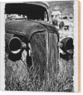 Classic Car Body In Grassy Field Wood Print