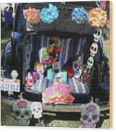 Classic Car Day Of Dead Decor Trunk Wood Print