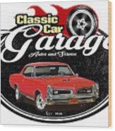 Classic Car Garage With Gto Wood Print