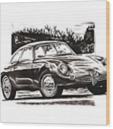 Classic Car In Classic Painting Wood Print